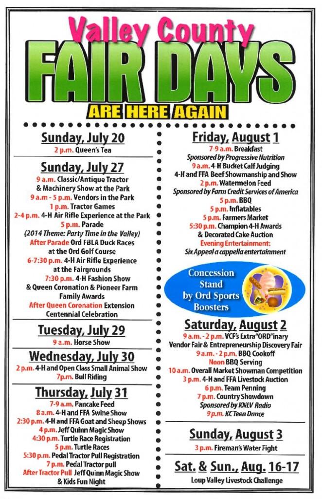2014 Valley County Fair Schedule
